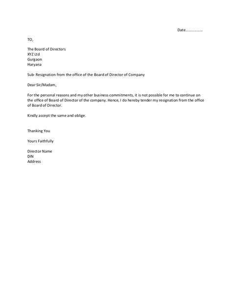 resignation letter format sle letter of resignation from board committee directed