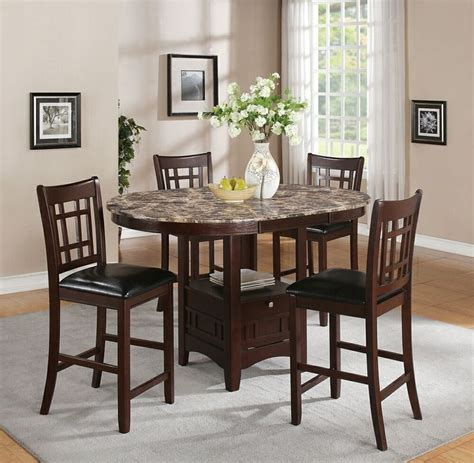 Amb Furniture by 5 Pc Jovan Collection Rich Brown Finish Wood And Faux