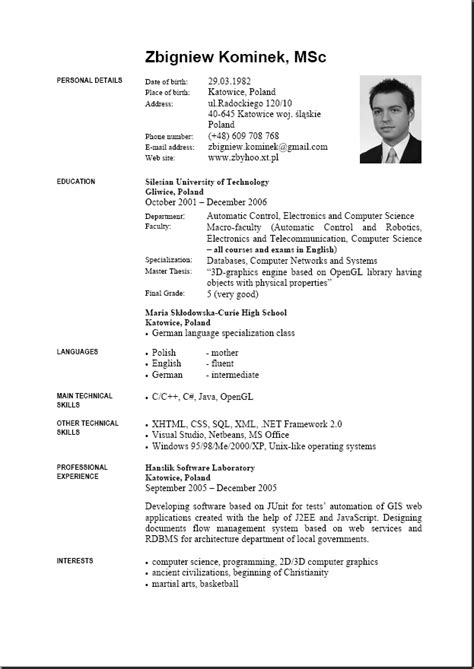 Sle Curriculum Vitae Template Doc Resume Template Resume Builder