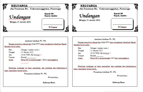 template undangan tahlil doc kumpulan undangan lengkap warung inspirasi
