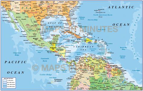 central america and the caribbean physical map physical map of central america and caribbean