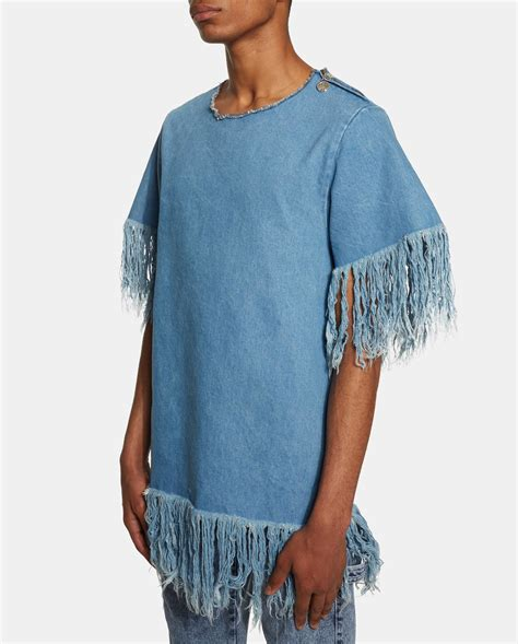 Fringes Shirt ambush denim fringe t shirt in blue for lyst
