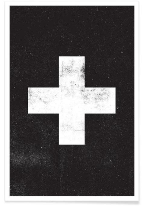 Poster Swiss Cross swiss cross black als premium poster the motivated