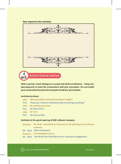 Invitation Letter Kelas Xi buku bahasa inggris smasmk kelas 11 kurikulum 2013