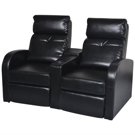 black leather 2 seater recliner sofa artificial leather home cinema recliner reclining sofa 2