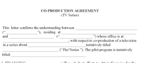 co production agreement template tv contracts pro exle forms
