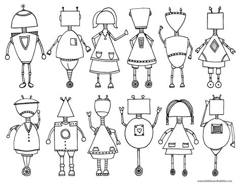 sketch robot detail coloring pages