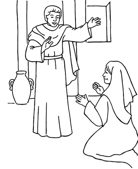 coloring page of angel visiting mary coloring pages angel gabriel visits mary bltidm