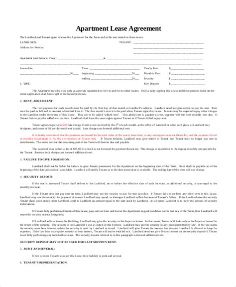 Apartment Lease Agreement 9 Free Pdf Word Download Apt Lease Template