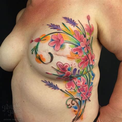 mastectomytattoo watercolor mastectomy floral mastectomy