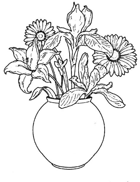 How To Draw A Vase Of Flowers Step By Step Pictures Beautiful Flowers With Vase For Draw Drawing