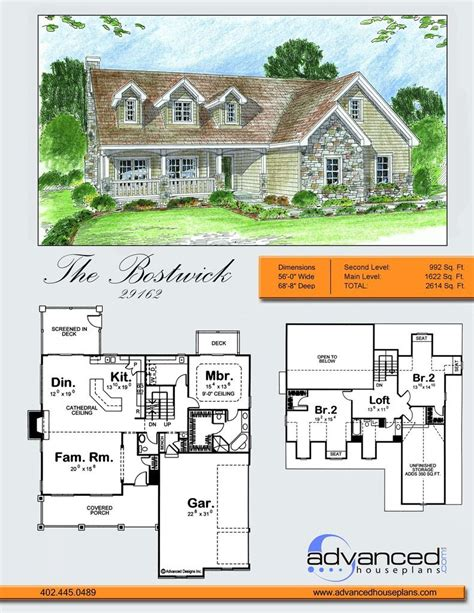 Advanced House Plans by Bostwick Traditional 1 5 Story By Advanced House Plans