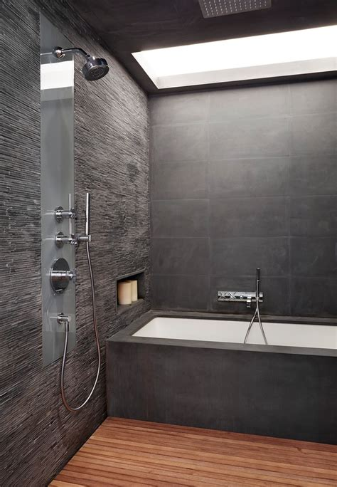 glorious slate shower tile  black tiled rain head
