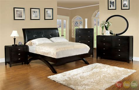 Contemporary Platform Bedroom Sets Delano Contemporary Espresso Platform Bedroom Set With Padded Leatherette Headboard Cm7824