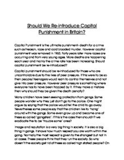 Essay About Capital Penalty by Should We Re Introduce Capital Gcse Miscellaneous Marked By Teachers