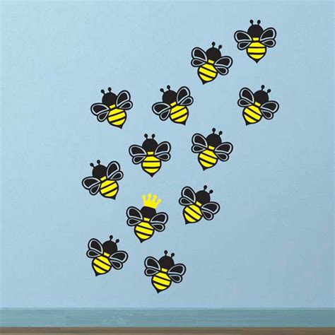 bee wall stickers bees wall decal pack 12 stickers includes 1 bee