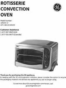 Ge Convection Toaster Oven Ge Convection Oven 169220 User Guide Manualsonline Com