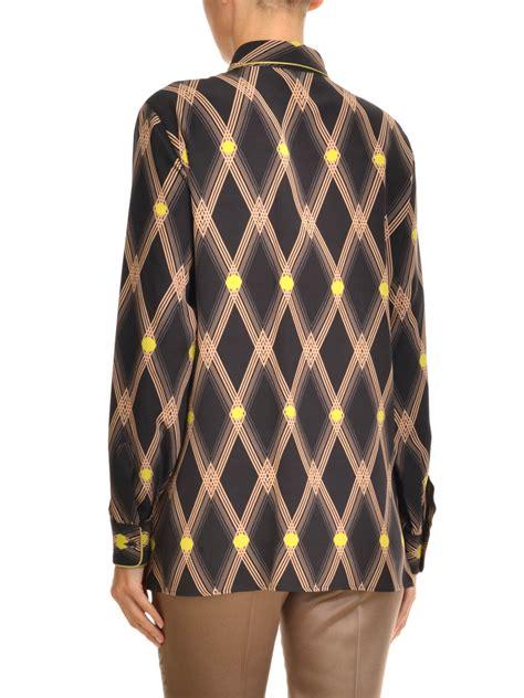 pattern silk shirt diamond pattern print silk shirt by etro shirts ikrix