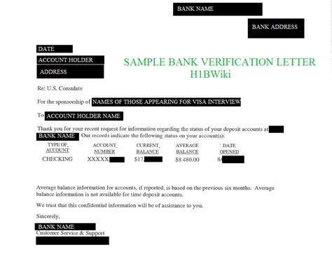 Bank Letter Us Visa Bank Account Verification Letter Sle