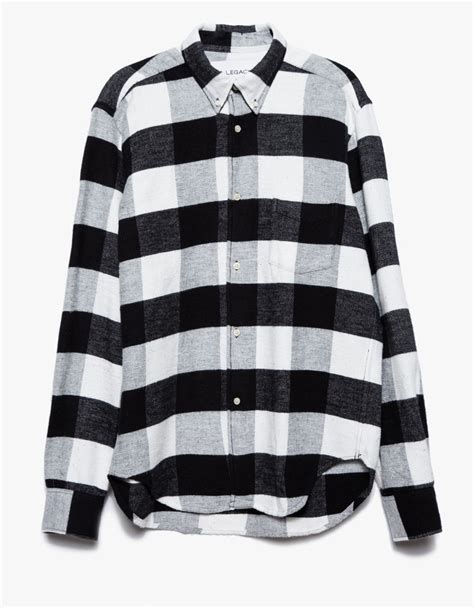Flanel Black Big White our legacy 1950 s flannel shirt in black for lyst