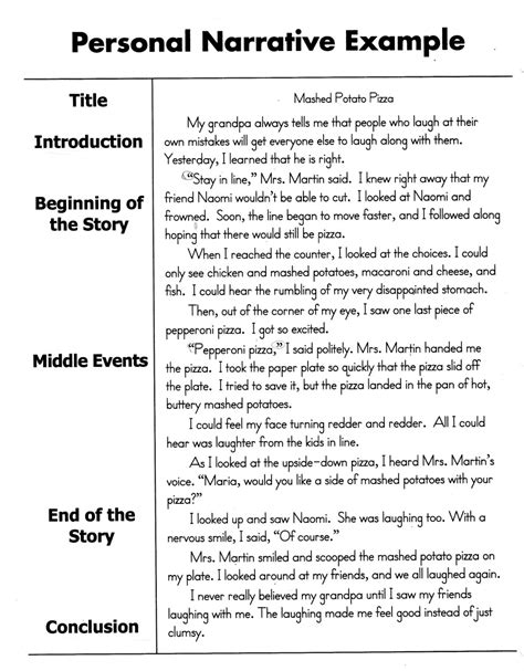 personal narrative template how to write a personal narrative essay for 4th 5th
