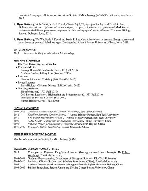Curriculum Vitae Curriculum Vitae Sle Biology Phd Resume Template