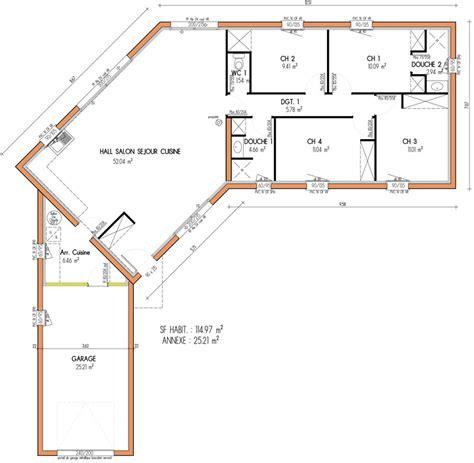 Plan Maison Plain Pied 4 Chambres 4053 by Pr 233 Visions De Maisons 224 Contruire En Loire Atlantique 44