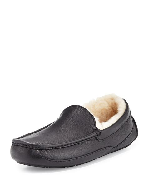 ugg leather slippers for ugg ascot leather slipper in black for lyst