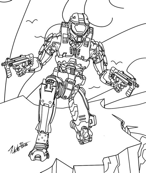 free halo 2 master chief coloring pages