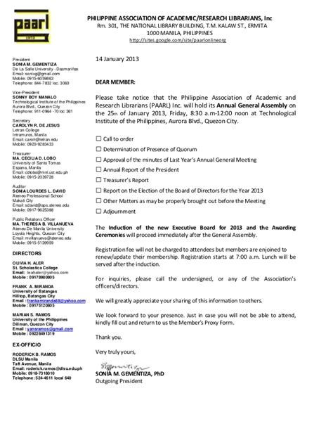 National Conference Invitation Letter Paarl Invitation Letter To Attend The 2013 General Assemblys Ga