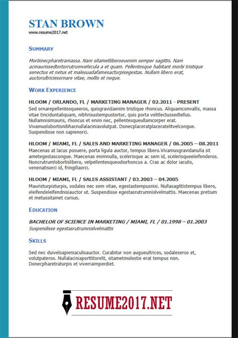 resume format 2018 sle resume format 2018 16 templates in word