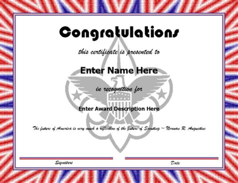 scout award certificate templates 25 images of boy scout certificate template of the