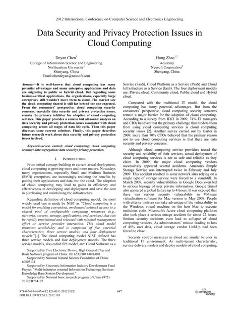 cloud computing security issues research papers data security and privacy protection pdf