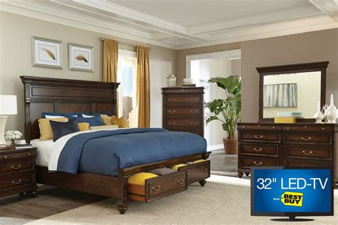 bedroom set with tv hawthorne queen bedroom set with 32 quot led tv