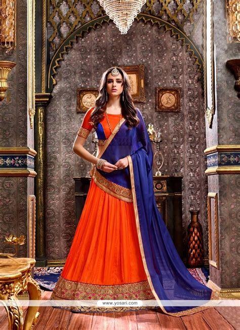 buy lace art silk lehenga choli  navy blue  orange wedding lehenga choli
