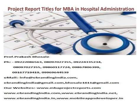 Mba In Hospital Management by Project Report Titles For Mba In Hospital Administration