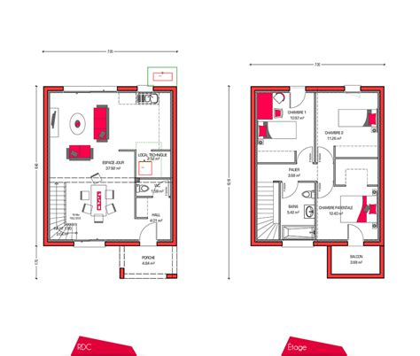 plan maison 3 chambres etage plan maison etage 90m2