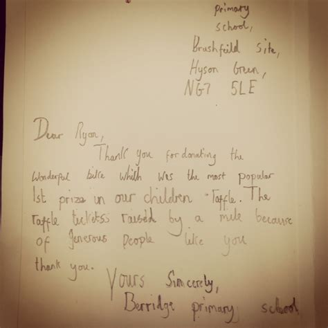 Thank You Letter To Primary Aquinas Foundation
