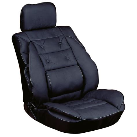 back support cushion for car seat black lumbar seat cushion luxury leather look ergonomic