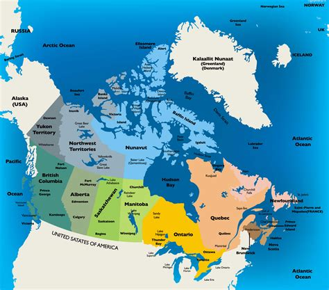 political map of canada with major cities map of canada guide of the world