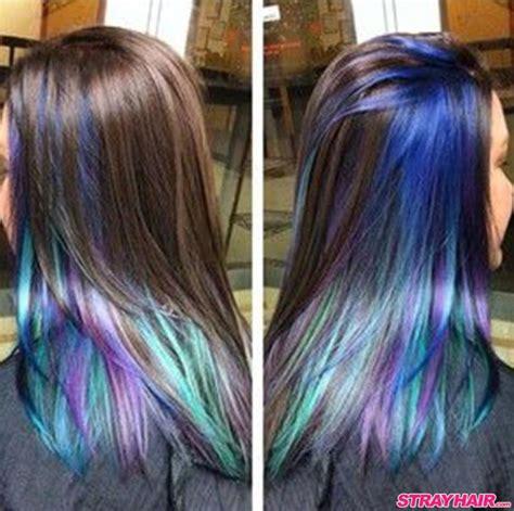 lowlighting the hair under the top layer oil slick hair color hidden under dark hair layer hair