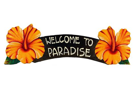 Pig Decor For Home Welcome To Paradise Yellow Hibiscus Sign