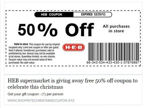 Free Printable Grocery Coupons Heb | spam alert 50 off heb coupon is a big fake hunting