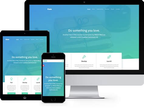 Elate Free Html5 Bootstrap Template Freehtml5 Co Website Template Html5 Free