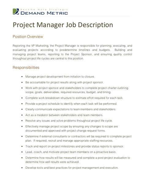 how to write a job description for a project manager 13 steps