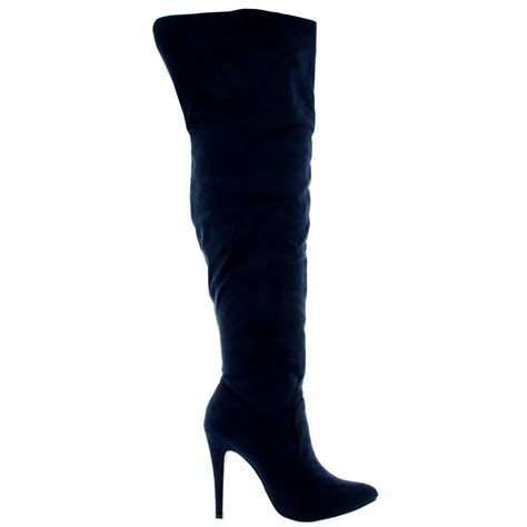 high heel boots uk womens thigh high platform stretch high heels evening high