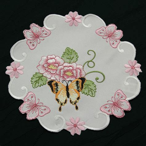 Burton Flower Pink Cover White butterfly table runner doily tablecloth cushion cover white pink green flower ebay