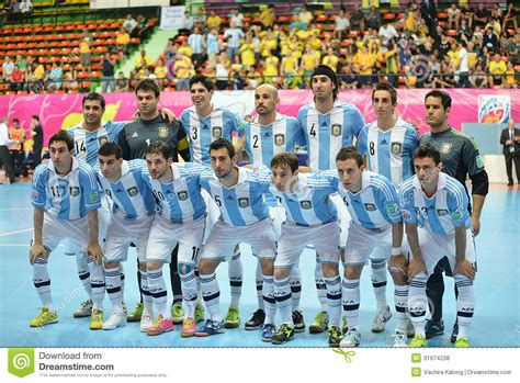 Schiffer Pose For World Cup 2 by Argentina National Futsal Team Editorial Stock Photo