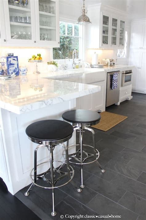 grey tile floor with white cabinets staggered tile floor cottage kitchen classic casual home