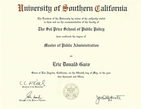 Usc Professional Mba Diploma usc diploma